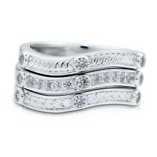 BERRICLE Sterling Silver CZ Fashion Right Hand Cocktail Stackable Ring Set