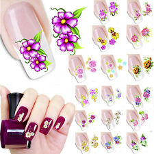 Colorful Flower Decal Water Transfer Manicure Nail Art Stickers Tips Decoration