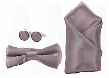MENS, BOYS or BABIES ROSE TAUPE BOW TIES, CUFFLINKS or HANDKERCHIEF or a SET