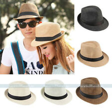 New Womens Unisex Summer Beach Trilby Fedora Straw Panama Brim Beach Cap Sun Hat
