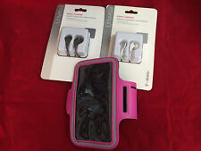PINK SPORTS ARMBAND POUCH & OEM HEADPHONE MIC FOR SAMSUNG GALAXY S4 ACTIVE S3 S4