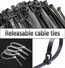 Black White Green Releasable Reusable Tie Wrap, Cable Tidy, Ties Zip Straps