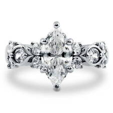 BERRICLE Sterling Silver Marquise Cut CZ Solitaire Fashion Right Hand Ring