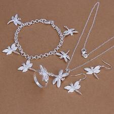 925 Sterling Silver Plated dragonfly necklace bracelet earrings ring set jewelry