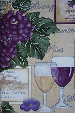 NEW Vinyl Tablecloth Vineyard Purple GRAPES Wine Glasses Tuscany ASST SIZES