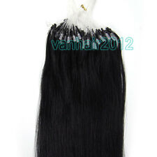 100s Micro Ring Easy Loop Tip Remy Human Hair Extensions Straight #01 Jet Black