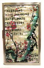 Cherry Blossoms on Mother of Pearl Korean Poem Metal Business Card Holder