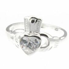 Sterling Silver 925 Irish Claddagh Ring with Crystal - Size L to R