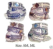 New Firecut Square Rhinestone Bling Crystal Croco Leather Snap on Buckle Belt