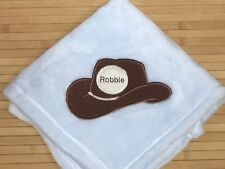 Embroidered Personalized Western Cowboy Hat Baby Blanket Monogrammed