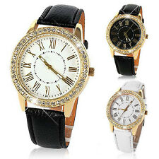"Bling Vintage Gold Wrist Watch Crystal Women""s Luxury Leather Strap Quartz watch"