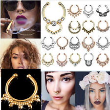 Nose Ring Fake Septum Clicker Non Piercing Hanger Clip On Crystal Jewelry ONE