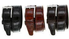"Made in Italy - Italian Alligator Embossed Designer Dress Belt, 1-3/8"" Wide"