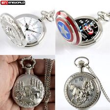 Vintage Pocket Watch Stainless Steel Chain Pendant Necklace Quartz Gift Silver