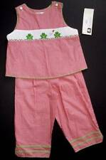 Smocked pant set gingham frog embroidered girls 6 or 6X Silly Goose NWT