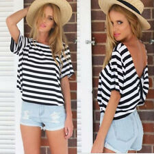 Womens Short Sleeve Loose Black+White T Shirt Summer Casual Tops Blouse
