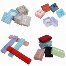 5pcs Jewelry Ring Earring Necklace Bowknot Gift Cardboard Paper Display Box Case