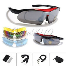Sports Cycling Riding Bike Bicycle Sun Glasses UV 400 Eyewear Goggle +5 Lens Box