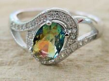 925 Sterling Silver SOLITAIRE oval SWIRL multi-coloured & white CZ women Ring