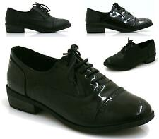 LADIES FLAT BLACK OXFORD BROGUE LACE-UP PUMPS WOMENS OFFICE WORK SHOES SIZES