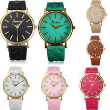 Fashion Women Casual Geneva Wrist Watch Roman Leather Band Analog Quartz Watch