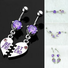 2PCS Best Friend Heart Surgical Steel Dangle Belly Button Crystal Navel Ring Bar
