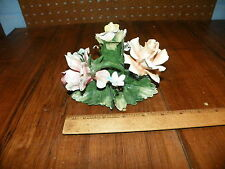 Vintage CAPODIMONTE Ceramic Flowers Candle Holder - Made In Italy              (