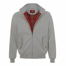 MENS MERC LONDON MOD CLASSIC HARRINGTON RED CHECK LINED JACKET - STONE