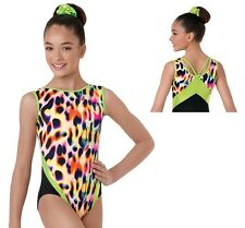 NEW Rainbow Cheetah Leopard Black Lime Foil Strappy Dance Gymnastics Leotard