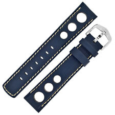Hirsch RALLY Leather Racing Inspired Watch Strap and Buckle in BLUE