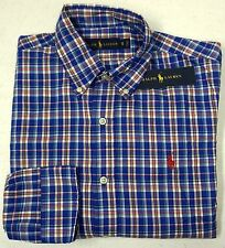 NWT $98 Polo Ralph Lauren Shirt Mens Blue Plaid Long Sleeve S M L XL XXL NEW