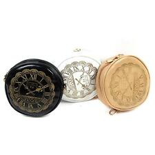 1pc Women Chic Round Clock Watch Kawaii Shoulder Card Coin Purse Cosmetic Bag Y2