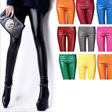 Fashion Sexy Women Candy Color Stretch Faux Leather Skinny Leggings Pencil Pants