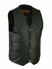 Mens Black Leather Classic Biker Motorcycle Vest, 4 Snap