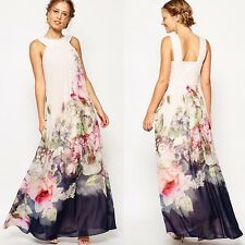 Donne floreale estate Stampa chiffon Sundress maxi Beach Party Dress Casual