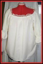 New Peasant Blouse Beige Laced Neckline Made In America ,Ruffled 3/4 Sleeve