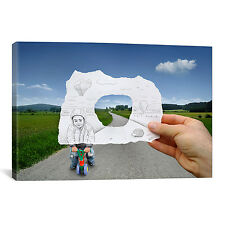 Pencil Vs Camera 29 - Child Playing by Ben Heine Photographic Print on Canvas