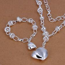 Women 925 Sterling Silver Plated peach Heart Charm Chain Bracelet necklace sets