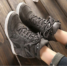 Womens Lace Up Hidden Wedge Heels High-Top Fashion Sneakers Sport Shoes Boots