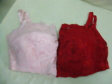 WOMEN'S PLUS SIZE 48-52 D LACE BANDEAU BRA~PINK RED~ADJUSTABLE STRAPS~NO WIRES~u