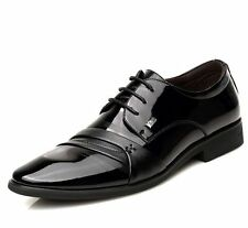 Fashion Mens Casual Lace Up Pointy Toe Chunky Low Heel Dress Formal Shoes New
