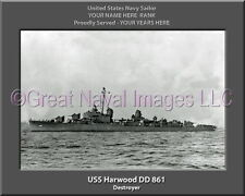 USS Harwood DD 861 Personalized Canvas Ship Photo Print Navy Veteran Gift