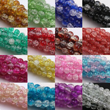 Lots Czech Glass Crackle Cracked Round Craft Loose Spacer Bead Findings 6-12mm