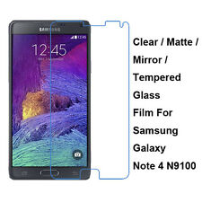 New Tempered Glass/Clear/Matte/Mirror Screen Protector For Samsung Galaxy Note 4