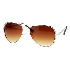 Womens Aviator Sunglasses Rhinestone Design Metal Frame Aviators