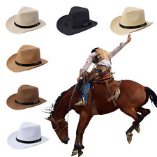 Summer Men Straw Hat Cowboy Elegant Hat outdoor casual with belt solid Hat cheap