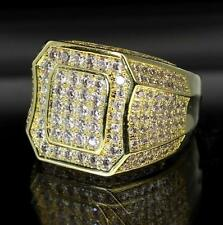 Classy Gold Finish Iced Out Sleek Celeb Bling Hip Hop Mens CZ Rapper Exotic Ring