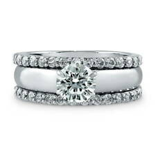 BERRICLE Sterling Silver Round CZ Solitaire Engagement Ring Set 1.57 Carat