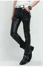 New Men's Skinny PU Leather Pants Pleated Casual Long Black Motor Trousers Hot