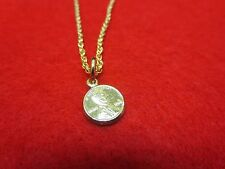 14 KT GOLD PLATED SNAKE CHAIN WITH MINI LUCKY PENNY USA SELLER-SZ 7-30 INCHES